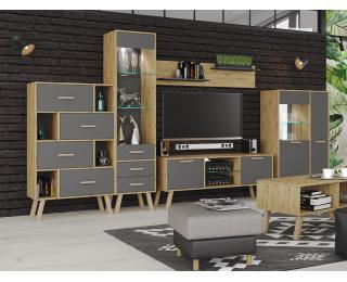 Obývacia izba s osvetlením Vilander - sivý grafit / dub artisan