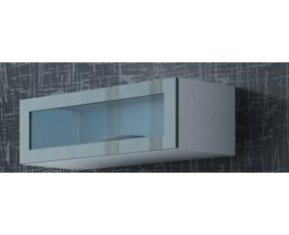 Vitrína na stenu so sklom Vigo 90 - biela / sivý lesk