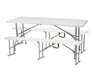 Cateringový skladací set Vivas 1+2L 180x70 cm - sivá / biela