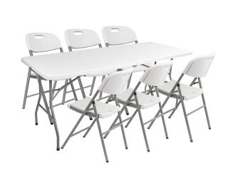 Cateringový skladací set Vivas 1+6 180x70 cm - sivá / biela