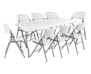 Cateringový skladací set Vivas 1+8 180x70 cm - sivá / biela