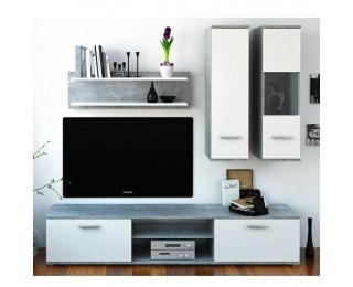 Obývacia stena Waw New - betón / biela