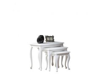 Rustikálny konferenčný stolík (3 ks) Wersal W-ABC - biela