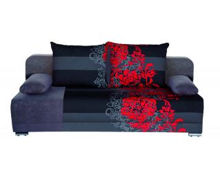 Rozkladacia pohovka s úložným priestorom Zico - bavlna kvety červené / suedine šedý