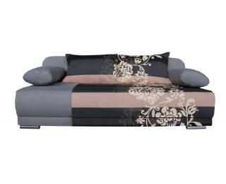 Rozkladacia pohovka s úložným priestorom Zico - bavlna kvety béžové / suedine šedý