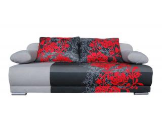 Rozkladacia pohovka s úložným priestorom Zico - bavlna kvety červené / suedine sivý