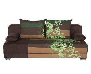 Rozkladacia pohovka s úložným priestorom Zico - bavlna kvety zelené / suedine hnedý