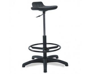 Otočná dielenská stolička Worker/Ring Base - čierna