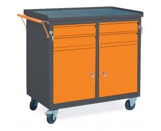 Dielenský vozík na kolieskach so zámkom WW01G/CC - grafit / oranžová