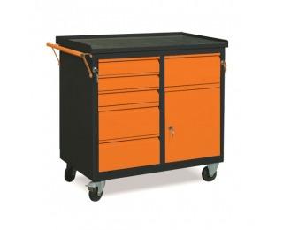 Dielenský vozík na kolieskach so zámkom WW01G/HB - grafit / oranžová
