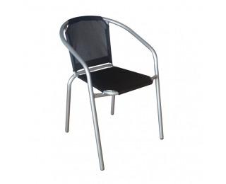 Záhradná stolička Kerta - čierna / strieborná