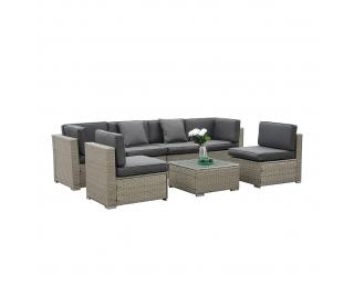 Záhradný nábytok z umelého ratanu Godon - svetlosivá / sivá