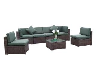 Záhradný nábytok z umelého ratanu Godon - tmavohnedá / zelená