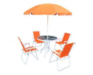 Záhradný set Odelo 1+4 - oranžová / biela