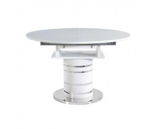 Okrúhly rozkladací jedálenský stôl Zamon - biely vysoký lesk