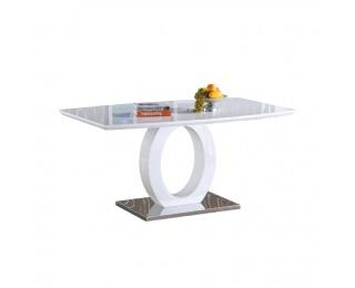 Jedálenský stôl Zarni - biely vysoký lesk / oceľ