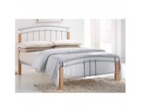 Kovová manželská posteľ s roštom Mirela 160 - prírodná / strieborná