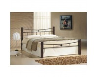 Manželská posteľ s roštom Paula 140 - orech / čierna