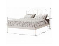 Kovová manželská posteľ s roštom Behemoth 140 - biela