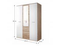 Šatníková skriňa so zrkadlom Emio Typ 3 3D - dub sonoma / biela