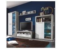 Obývacia izba s osvetlením Slone - biely lesk / sivý betón