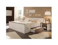 Manželská posteľ s nočnými stolíkmi (2 ks) Lumera 180 - pínia biela / dub sonoma truflový