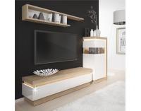 TV stolík s osvetlením Leonardo LYOF 1 - dub riviera / biely vysoký lesk