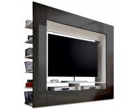 Obývacia stena Medi - čierny lesk / biela