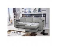 Rohová sedačka s rozkladom a úložným priestorom Bona L/P - sivá látka / sivá ekokoža