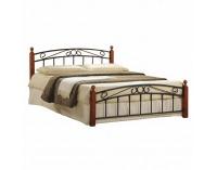 Kovová manželská posteľ s roštom Dolores 180 - čerešňa / čierna