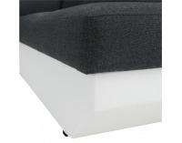 Rohová sedačka s rozkladom a úložným priestorom Akron P - biela ekokoža / tmavosivý šenil