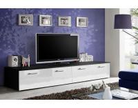 TV stolík Duo ZW - čierna / biely vysoký lesk