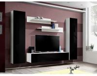 Obývacia stena Fly A1 WS - biela / čierny vysoký lesk