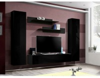 Obývacia stena Fly A1 ZZ - čierna / čierny vysoký lesk