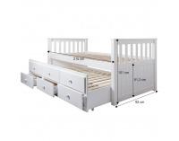 Rozkladacia posteľ s roštami Austin 90 90x200 cm - biela