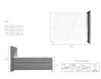 Čalúnená manželská posteľ s úložným priestorom Avellino 180 - tmavohnedá (Soft 66)