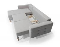 Rohová sedačka s rozkladom a úložným priestorom Aveza L/P - hnedá
