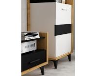 TV stolík Box BOX-08 - dub artisan / biela / čierna