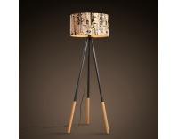 Stojacia lampa Cinda Typ 6 YF6253 - čierna / vzor dreva / novinová potlač