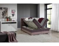 Čalúnená manželská posteľ s úložným priestorom Dalino 160 - svetlosivá / čierna