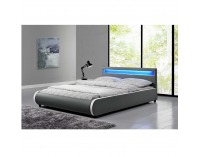 Čalúnená manželská posteľ s roštom a osvetlením Dulcea 160 - sivá