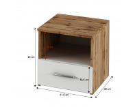 Nočný stolík (2 ks) Gabriela - dub wotan / biela