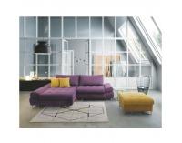 Rohová sedačka s rozkladom a úložným priestorom Gres L - fialová / horčicová