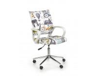 Detská stolička na kolieskach s podrúčkami Ibis - biela / vzor Paríž