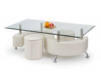Sklenený konferenčný stolík s taburetkami Nina 3 H - biela / priehľadná