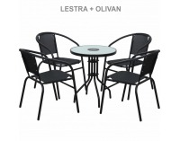 Záhradná stolička Lestra - tmavosivá / sivá