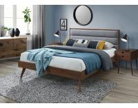 Manželská posteľ s roštom Orlando 160 - orech / sivá