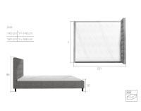 Čalúnená manželská posteľ s roštom Maren 160 - čierna