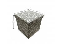 Taburetka s úložným priestorom Marlo - sivá / biely vzor