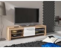 TV stolík Flex - sonoma svetlá / biely vysoký lesk